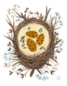 nest & eggs watercolor... by holly ward bimba