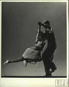 Leon James & Willa Mae Ricker demonstrating a step of The Lindy Hop. Photo by Gjon Mili - Time Life Pictures/Getty Images. Jan 1, 1943.