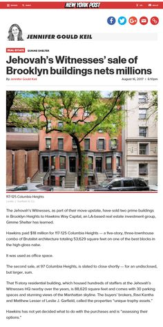 Jw News, Columbia Heights, Brooklyn Heights, Jehovah's Witnesses, Offices, Real Estate, Building, Jehovah Witness, Real Estates