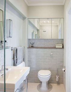A false wall was built to conceal the cistern and create storage. Mirrors on two walls give the impression of a larger room. Loft Bathroom, Ensuite Bathrooms, Bathroom Renos, Bathroom Layout, Bathroom Renovations, Bathroom Gray, Small Bathrooms, Small Downstairs Toilet, Small Toilet Room
