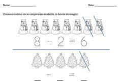 Iarna - scaderea numerelor in concentrul 1-10.  Winter subtraction worksheet