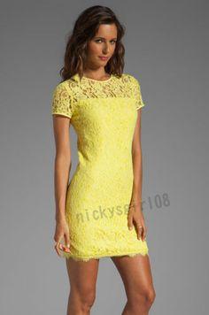 Diane Von Furstenberg DVF Barbie Lace Dress in Limoncello Wedding Party Sz 6 | eBay