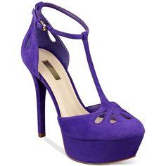 Guess Women's Espie T-Strap Pumps ($125) ❤ liked on Polyvore featuring shoes, pumps, purple, purple shoes, cut out pumps, t strap pumps, high heel shoes and high heel platform pumps