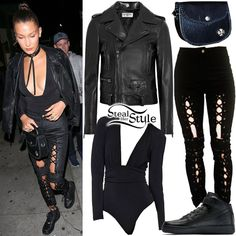 Bella Hadid was spotted leaving The Nice Guy wearing a Saint Lauren Classic Perfecto Leather Biker Jacket ($5,490.00), a Nookie Cherish Bodysuit ($159.00), HardwareLDN Ray Ray Trousers (£165.00), a Chrome Hearts Bag (Not available online) and Nike Air Force 1 Mid Sneakers ($95.00).