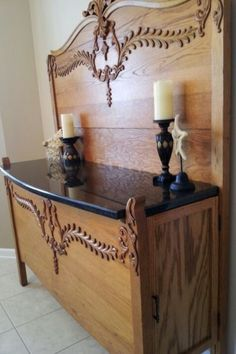 DIY Upcycled and Repurposed Furniture. Stunning Sideboard made from an Antique Headboard and Footboard. Refurbished Furniture, Farmhouse Furniture, Repurposed Furniture, Furniture Projects, Furniture Making, Furniture Makeover, Painted Furniture, Dresser Repurposed, Modular Furniture