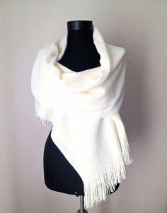 Ivory Winter Shawl, Cream Warm Scarf, Bone Knit Scarf, Elegant Cream Wrap, Winter Wedding  Bridal Shawl, Soft Cozy Cover Up, Christmas Gift