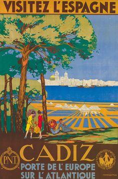 """""""Cádiz, porte de l'Europe sur l'Atlantique"""", 1929, Francisco Hohenleiter y Castro. Spain Travel Poster"""