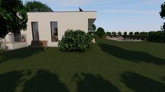 Modern, 5 szobás, 229 m2-es földszintes családi ház mintaterve, alaprajzzal A keleti homlokzat és a kert. Mansions, House Styles, Modern, Home Decor, Trendy Tree, Decoration Home, Manor Houses, Room Decor, Villas