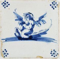 Antique Dutch Delft tile with a winged figure (Cupido) on a whale, 17th century