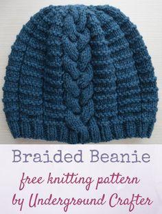 39bbe009b6d95 Free knitting pattern  Braided Beanie in Imperial Yarn Erin