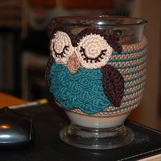 Ravelry: Owl mug cozy pattern by Justyna Kacprzak