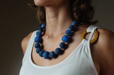 Blue Felted Beaded Necklace Chunky Beaded Autumn Jewelry. €25.00, via Etsy.