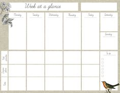 "Oh the lovely things: Free Printable ""Week At A Glance"" Planner"