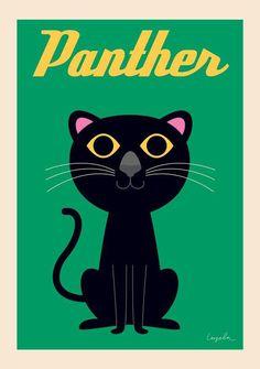 ingela arrhenius panther print poster kids room