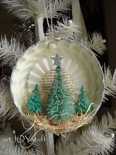 mixed media Christmas ornament bleached dyed by ajoy2bheld