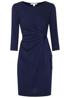 Diane von Furstenberg navy�silk blend�wrap dress Ruched front, waist ties, cropped sleeves Concealed zip fastening at side 48% silk, 45% nylon, 7% spandex