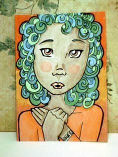 Sun Art Card Original Watercolor Original Painting Childrens Folk Art Artist Trading Card