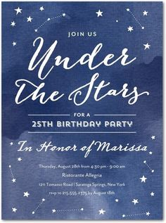 Stellar Gala - Adult Birthday Party Invitations in Baltic or Slate | Magnolia Press