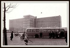 """Amsterdam """"Bos en Lommer"""" in 1959: de bus naar Zandvoort by Amsterdam RAIL, via… Amsterdam Holland, Things To Know, Old Pictures, 17th Century, Netherlands, Facade, Dutch, The Neighbourhood, Street View"""