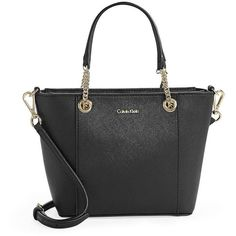 Calvin Klein Mini Saffiano Leather Crossbody ($67) ❤ liked on Polyvore featuring bags, handbags, shoulder bags, tote handbags, mini crossbody, calvin klein tote, tote shoulder bags and zip top tote bag