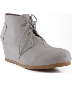 Qupid Olee-01 Women Classic Lace Up Round Toe Wedge Ankle Boot Shoes GREY