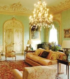 Downton Abbey drawing room. Such unbelievable elegance.
