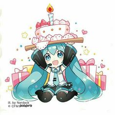Hatsune Miku and a cake Kawaii Anime, Cute Anime Chibi, Kawaii Chibi, Chica Anime Manga, Anime Love, Vocaloid, Happy Birthday Drawings, Dibujos Anime Chibi, Another Anime