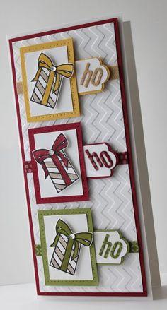 Ho * Ho * Ho ~ Tall skinny Christmas card, fits #10 standard business size envelope.