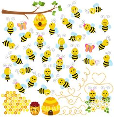 Bumble bees illustration, Honey bee clipart, Commercial use bee clip art, Bumble bee image, bee hive Bumble Bee Images, Bumble Bee Clipart, Bumble Bees, Planner Stickers, Bumble Bee Illustration, Honey Logo, Bee Boxes, Bee Party, Bee Theme