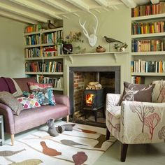 compact country living room with open fire | hogar | pinterest