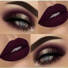 Dark Eye Makeup, Dark Eyeshadow, Eye Makeup Art, Blue Makeup, Eyeshadow Makeup, Makeup Lips, Dress Makeup, Maroon Makeup, Eyeshadow Ideas