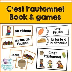 French fall / l'automne - Mini book and centres Teacher Books, Teacher Pay Teachers, Game Cards, Card Games, Sentence Building, French Classroom, Word Sentences, Reading Games, French Immersion