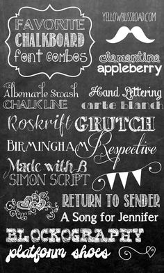 favorite font combinations to use when making chalkboard printable signs! Picking fonts doesn't have to be difficult!My favorite font combinations to use when making chalkboard printable signs! Picking fonts doesn't have to be difficult! Fancy Fonts, Cool Fonts, Awesome Fonts, Photoshop Cs5, Photoshop Elements, Chalkboard Signs, Chalkboard Printable, Chalkboards, Chalkboard Art