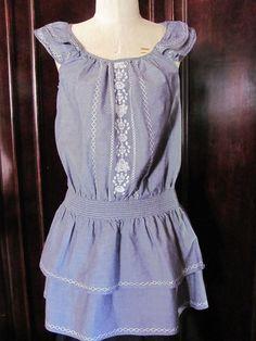 Speed Control Blue White Denim Emboridered Tiered Sun Dress XL #SpeedControl #Tiered #Casual