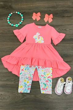 Spring Bunny Capri Set - Sparkle in Pink Cute Outfits For Kids, Cute Kids, Baby Girl Fashion, Kids Fashion, Baby Girl Pants, Girls Boutique, Boutique Clothing, Fashion Boutique, My Little Girl