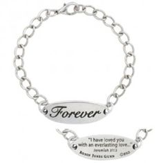"Forever Bracelet: Inspired by the ""Christy Miller"" series, by best-selling author Robin Jones Gunn, this I.D. bracelet features the word ""Forever"" engraved on the front and Jeremiah 31:3 ""I have loved you with an everlasting love."" on the back."