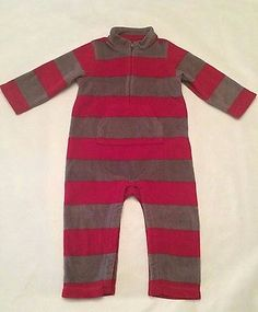 Baby Gap Boys Red and Gray striped  fleece romper, outwear long sleeve 18 months