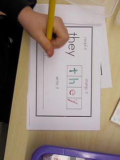 sight words practice. love this for writing center