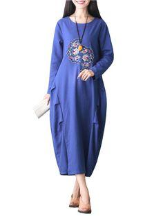 Sale 23% (29.75$) - Women Vintage Embroidery Long Sleeve Loose Dress
