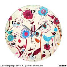 Colorful Spring Flowers Birds Mulberry Blue Orange Large Clock