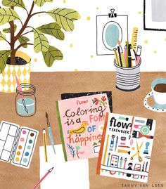 Illustrated workspace