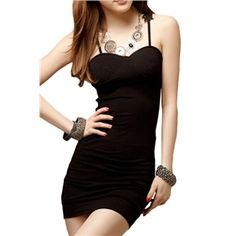 Lace Hollow-out Bodycon Black Halter Dress   pariscoming