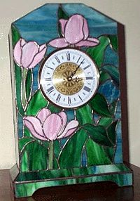 Tulip Clock stained                   glass