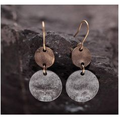 Vintage Silver Copper Small Circle Drop Earrings Hammered Silver... ($19) ❤ liked on Polyvore featuring jewelry, earrings, party earrings, hammered silver earrings, earring jewelry, vintage jewelry and silver drop earrings
