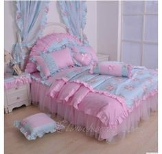 I actually love this color scheme for these Bed For Girls Room, Girl Room, Girls Bedroom, Bedroom Decor, Lace Bedding, Bedding Sets, Cotton Bedding, Designer Bed Sheets, Daybed Sets