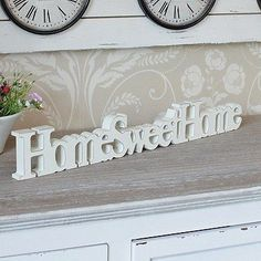 Cream wooden home sweet home free standing sign plaque home accessory gift