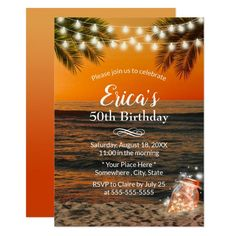 Summer Sunset Beach Glow Mason Jar 50th Birthday Invitation Mason Jar Invitations, Beach Invitations, 50th Birthday Party Invitations, Bridal Shower Invitations, Beach Jar, Beach Mason Jars, Glow Mason Jars, Summer Sunset, Sunset Beach