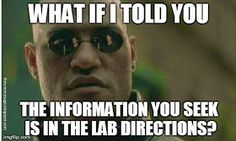 What if I told you the information you seek is in the lab directions?