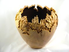 Carved maple leaf Vessel; silver maple; Kurt and Melody Bellock (Spirit and Soul of the Tree)