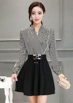 Buy Wrap Neck Stripe Fit & Flare Dress | mysallyfashion.com Malaysia